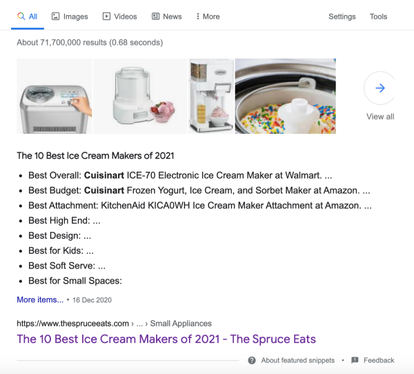 featured snippet list unordered