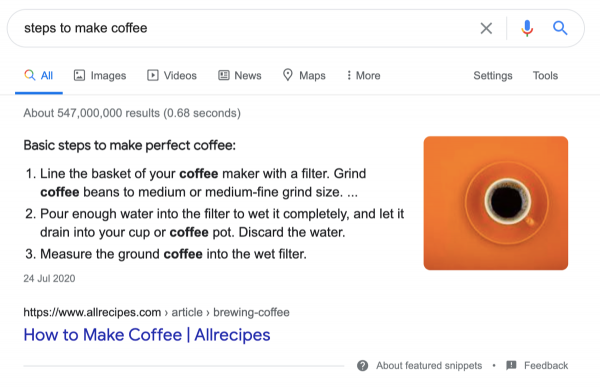 featured snippet steps ordered